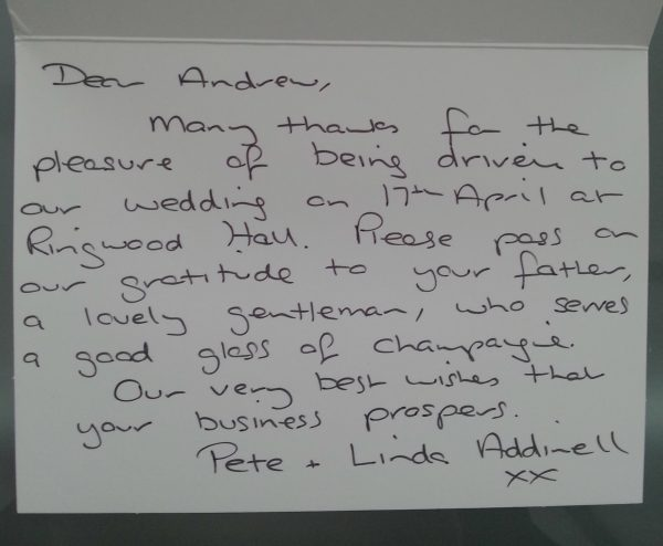 linda parker's wedding car thank you letter