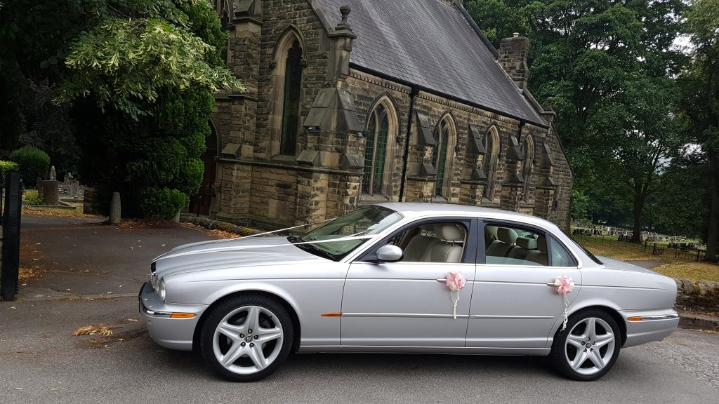 silver jaguar limousines for wedding hire in chesterfield